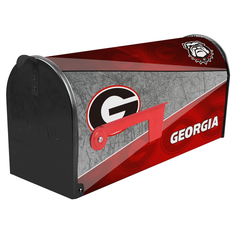 S.A.W. NCAA 7-in x 9-in Metal University Of Georgia Post Mount Mailbox