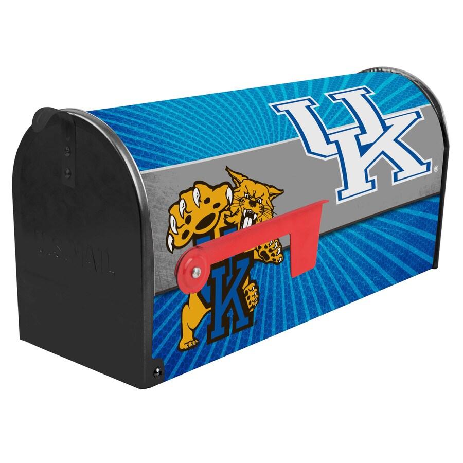 S.A.W. NCAA 7-in x 9-in Metal University Of Kentucky Post Mount Mailbox