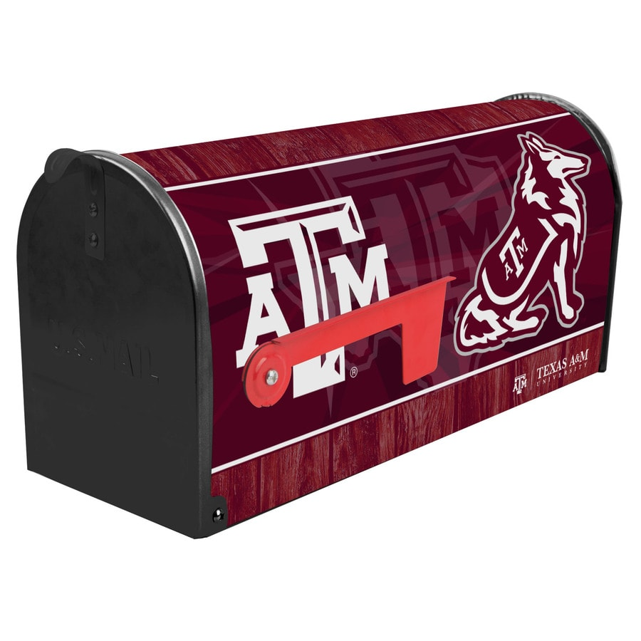 S.A.W. NCAA 7-in x 9-in Metal Texas A&M Post Mount Mailbox