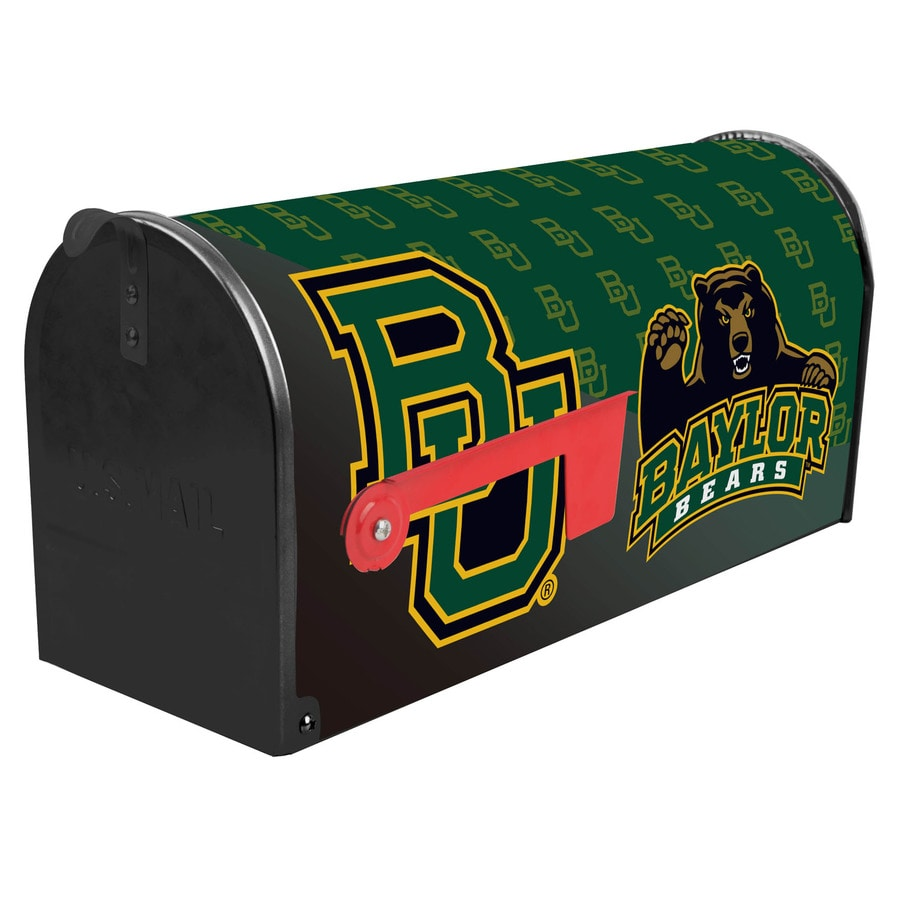S.A.W. NCAA 7-in x 9-in Metal Baylor University Post Mount Mailbox