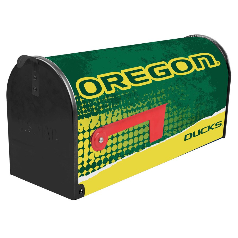 S.A.W. NCAA 7-in x 9-in Metal University Of Oregon Post Mount Mailbox