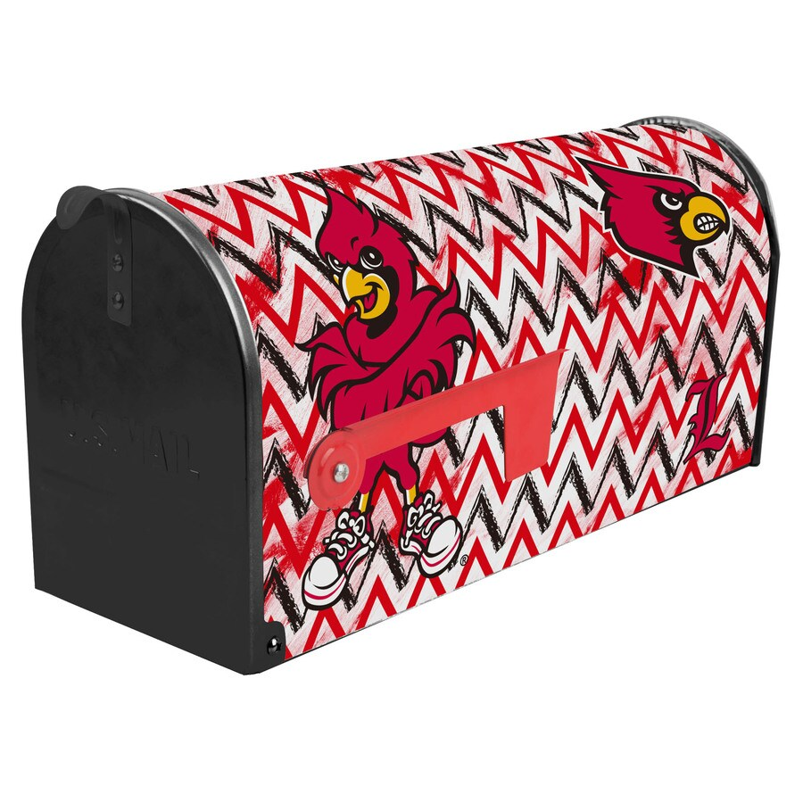 S.A.W. NCAA 7-in x 9-in Metal University Of Louisville Post Mount Mailbox