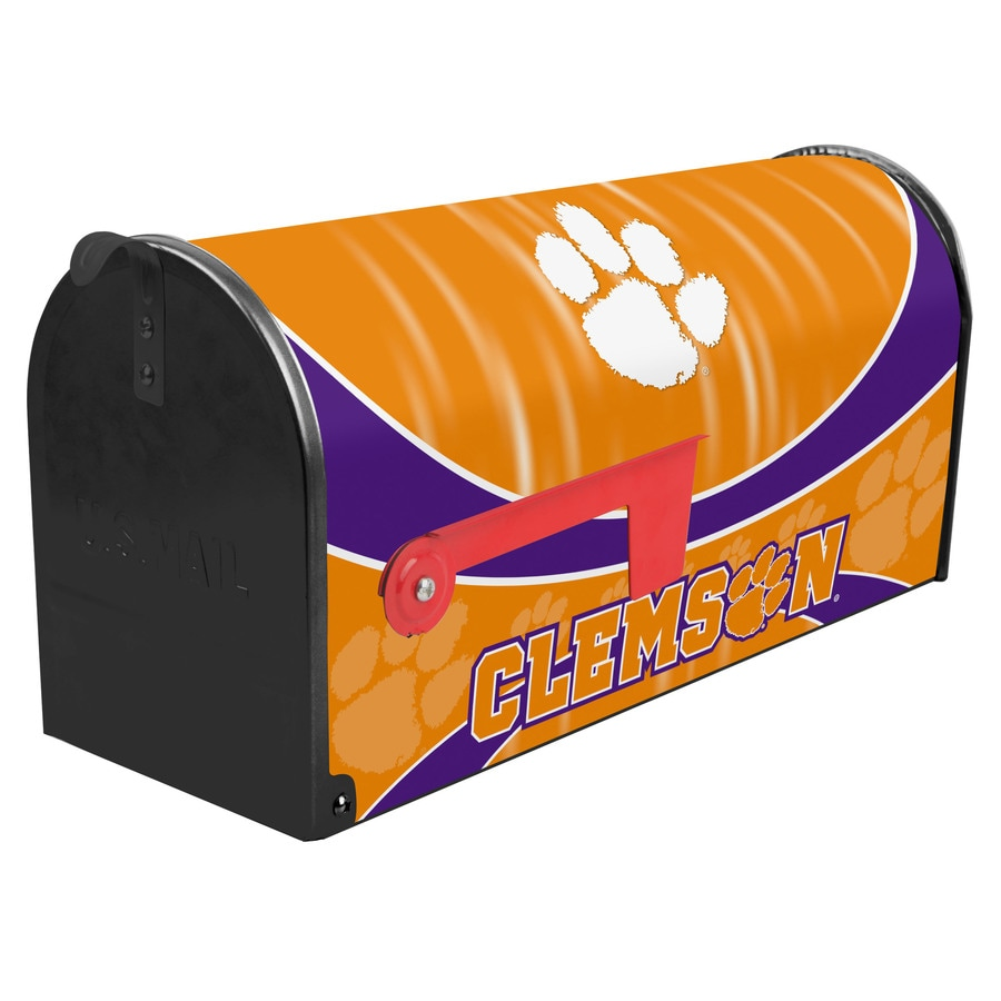 S.A.W. NCAA 7-in x 9-in Metal Clemson University Post Mount Mailbox