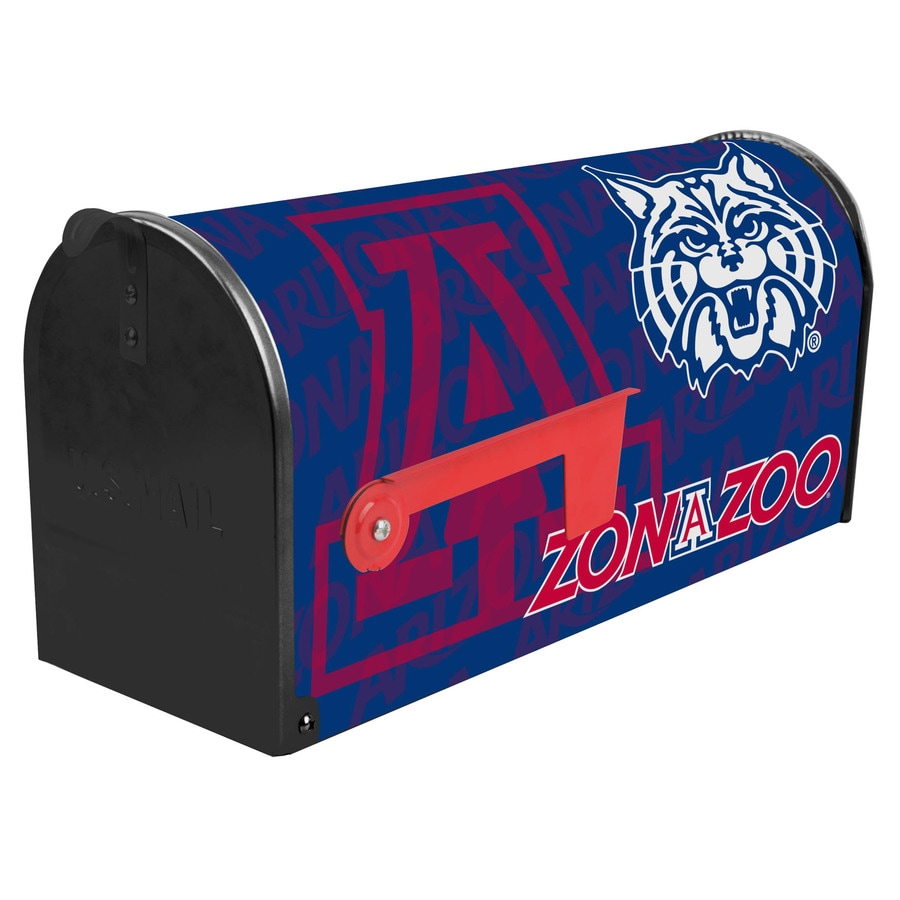 S.A.W. NCAA 7-in x 9-in Metal University Of Arizona Post Mount Mailbox
