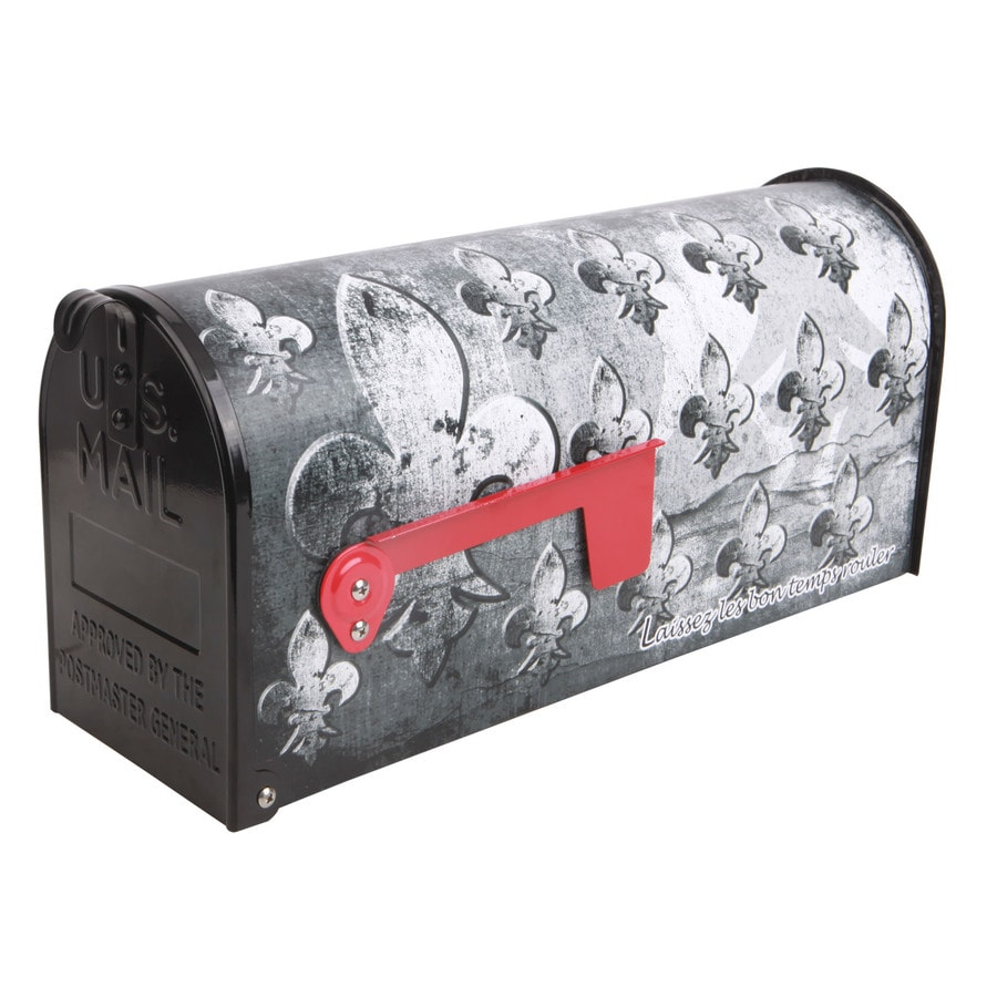 S.A.W. 7-in x 9-in Metal Grey Fleur De Lis Post Mount Mailbox