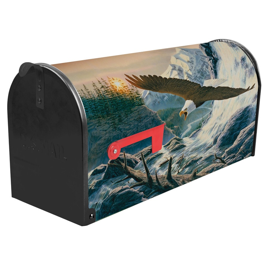S.A.W. 7-in x 9-in Metal Mountain Cry Post Mount Mailbox