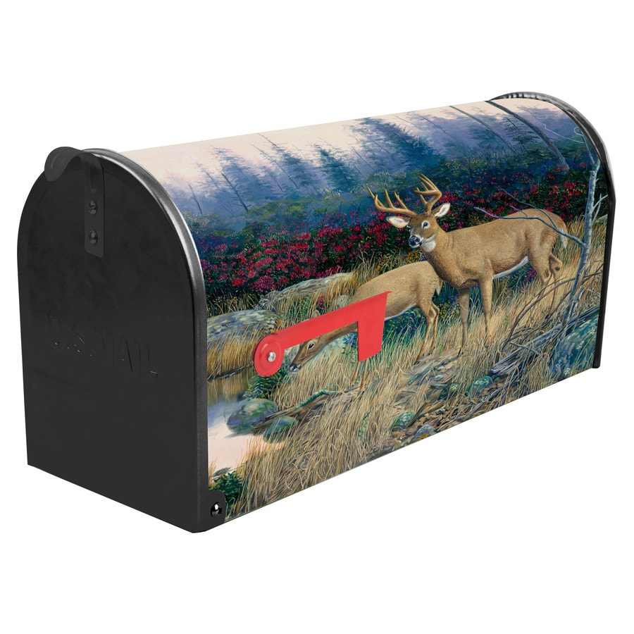 S.A.W. 7-in x 9-in Metal Middle Of Nowhere Post Mount Mailbox
