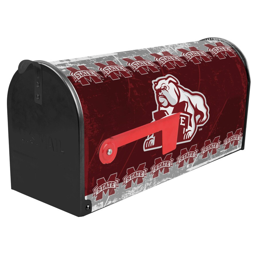 S.A.W. NCAA 7-in x 9-in Metal Mississippi State University Post Mount Mailbox