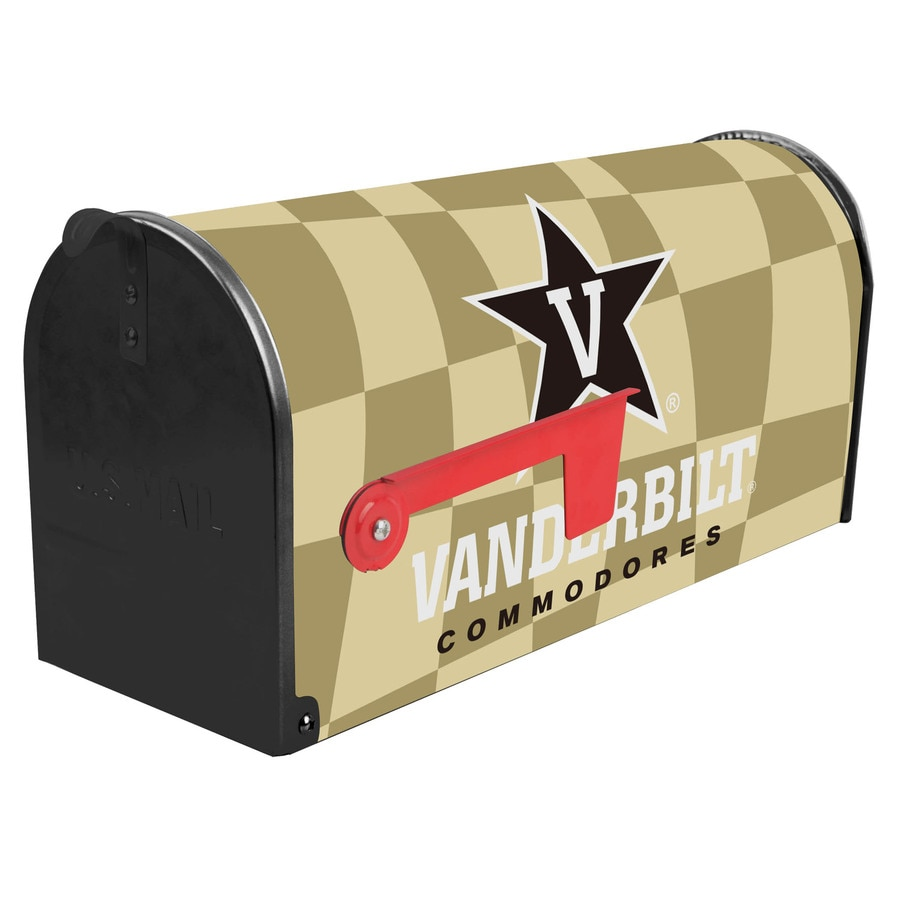 S.A.W. NCAA 7-in x 9-in Metal Vanderbilt University Post Mount Mailbox
