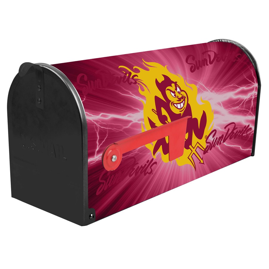 S.A.W. NCAA 7-in x 9-in Metal Arizona State University Post Mount Mailbox
