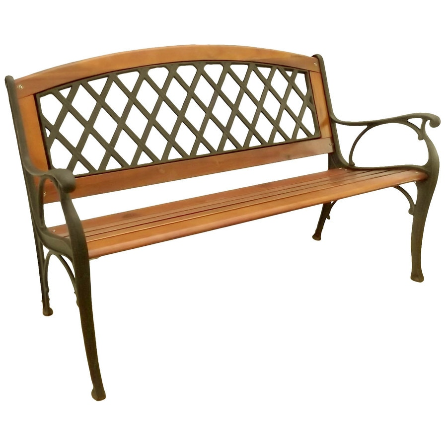 Garden Treasures 25-in W x 50-in L Wood Patio Bench