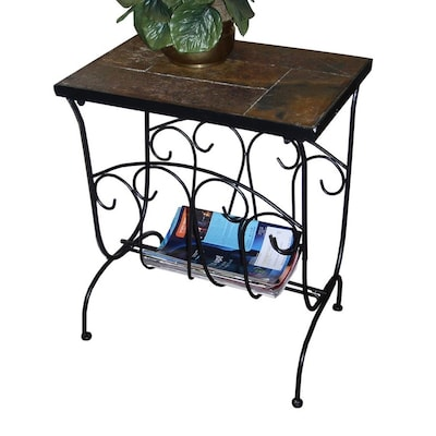 Fine Metal Slate Stone End Table Alphanode Cool Chair Designs And Ideas Alphanodeonline