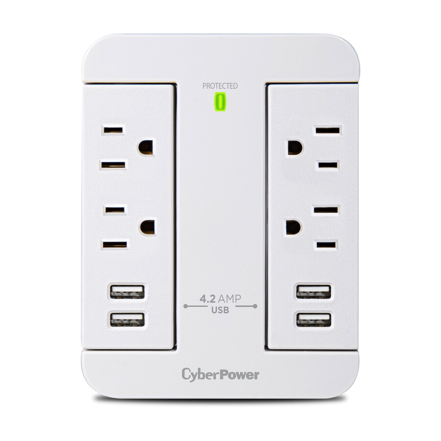 Surge Protectors At Wall Outlet Ports Plugged Wiring Devices Home Office Ac Usb Device Cyberpower 4 500 Joules Protector
