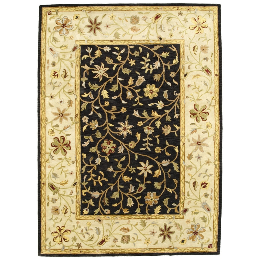 Bashian Ipswich Rectangular Black Floral Tufted Wool Area Rug (Common: 9-ft x 12-ft; Actual: 8.5-ft x 11.5-ft)