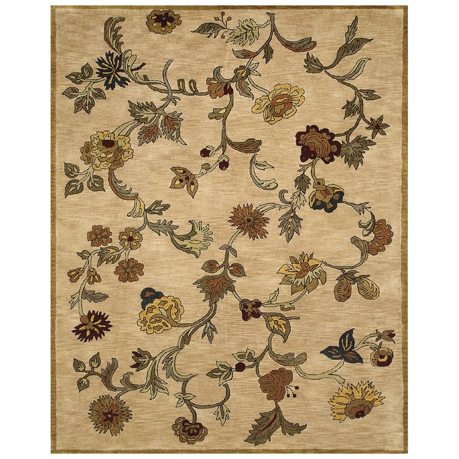 Bashian Ipswich Rectangular Cream Floral Tufted Wool Area Rug (Common: 9-ft x 12-ft; Actual: 8.5-ft x 11.5-ft)