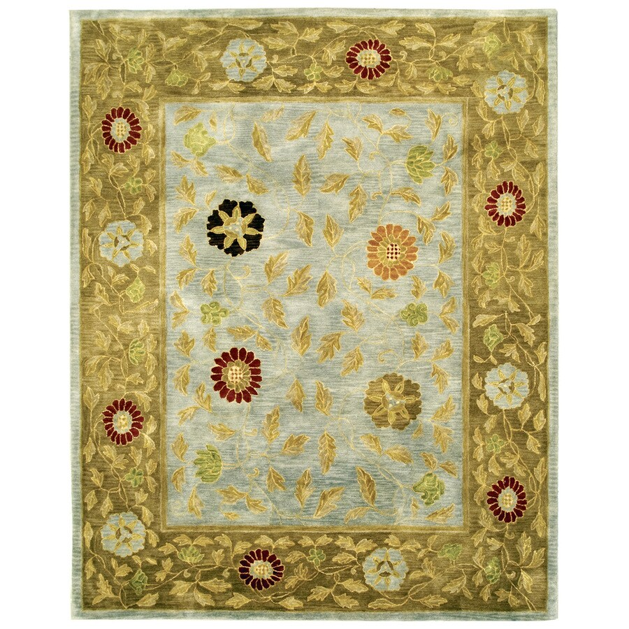 Bashian Ipswich Rectangular Aqua Floral Tufted Wool Area Rug (Common: 8-ft x 10-ft; Actual: 7.75-ft x 9.75-ft)