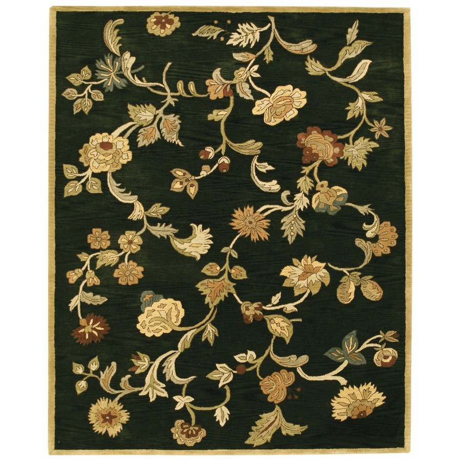 Bashian Ipswich Rectangular Black Floral Tufted Wool Area Rug (Common: 8-ft x 10-ft; Actual: 7.75-ft x 9.75-ft)