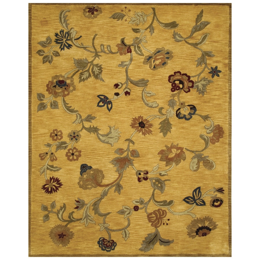 Bashian Ipswich Rectangular Yellow Floral Tufted Wool Area Rug (Common: 4-ft x 6-ft; Actual: 3.75-ft x 5.75-ft)