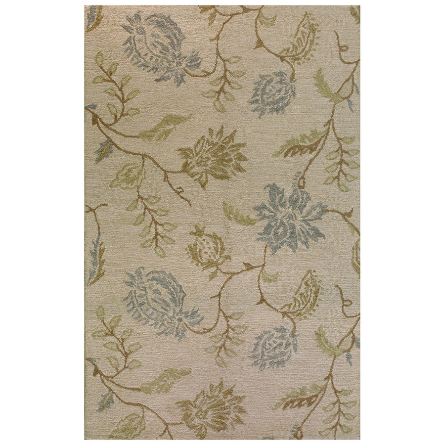 Bashian Stockport Rectangular Cream Floral Tufted Wool Area Rug (Common: 4-ft x 6-ft; Actual: 3.5-ft x 5.5-ft)