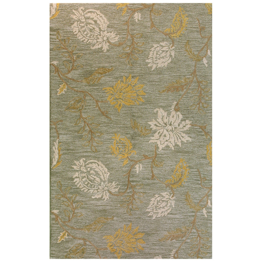 Bashian Stockport Rectangular Green Floral Tufted Wool Area Rug (Common: 4-ft x 6-ft; Actual: 3.5-ft x 5.5-ft)