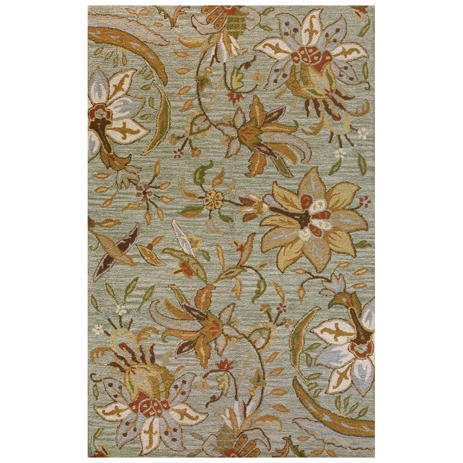 Bashian Stockport Rectangular Green Floral Tufted Wool Area Rug (Common: 9-ft x 12-ft; Actual: 8.5-ft x 11.5-ft)