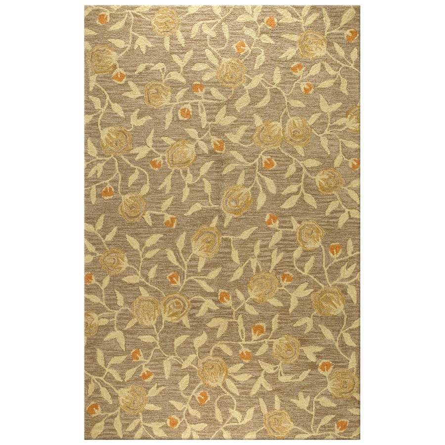 Bashian Stockport Rectangular Brown Floral Tufted Wool Area Rug (Common: 8-ft x 10-ft; Actual: 7.75-ft x 9.75-ft)