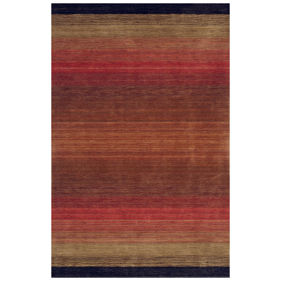 Bashian Fulham Rectangular Red Geometric Hand-Loomed Wool Area Rug (Common: 8-ft x 10-ft; Actual: 7.5-ft x 9.5-ft)