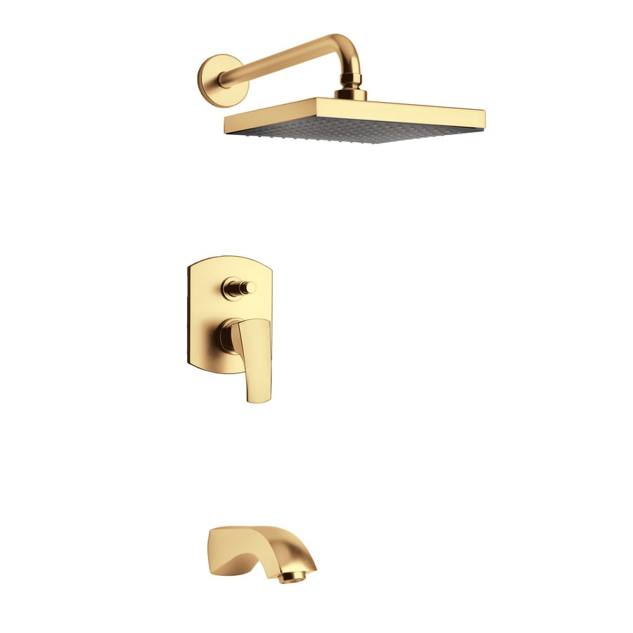 LaToscana Lady Satin Gold 1-Handle WaterSense Bathtub and Shower Faucet with Rain Showerhead
