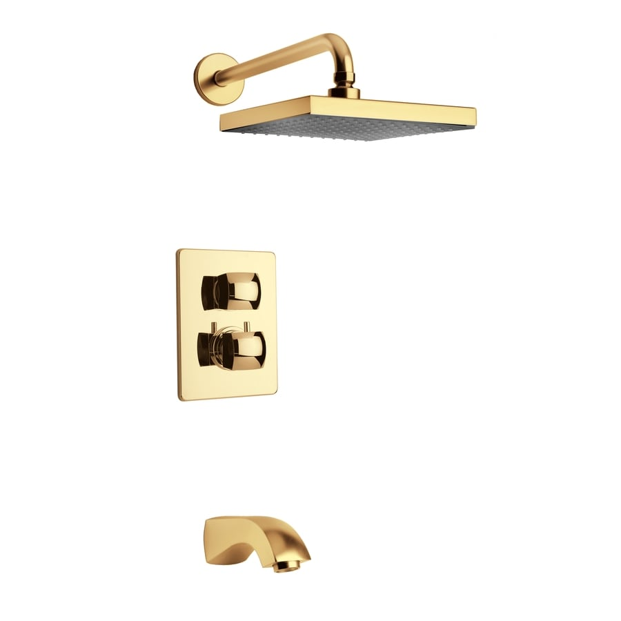 LaToscana Lady Satin Gold 2-Handle WaterSense Bathtub and Shower Faucet with Rain Showerhead