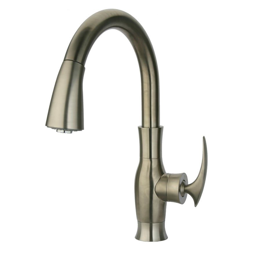 LaToscana Firenze Brushed Nickel 1-Handle Deck Mount Pull-Down Commercial Kitchen Faucet