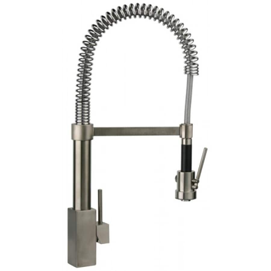Latoscana Dax Brushed Nickel 1 Handle Deck Mount Pre Rinse Commercial Kitchen Faucet