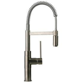 Latoscana Elba Brushed Nickel 1 Handle Deck Mount Pull Out Commercial Kitchen Faucet