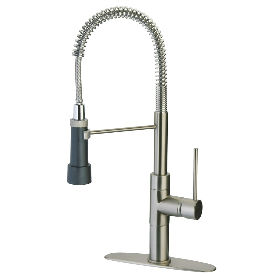 latoscana elba brushed nickel 1handle deck mount prerinse commercial kitchen faucet