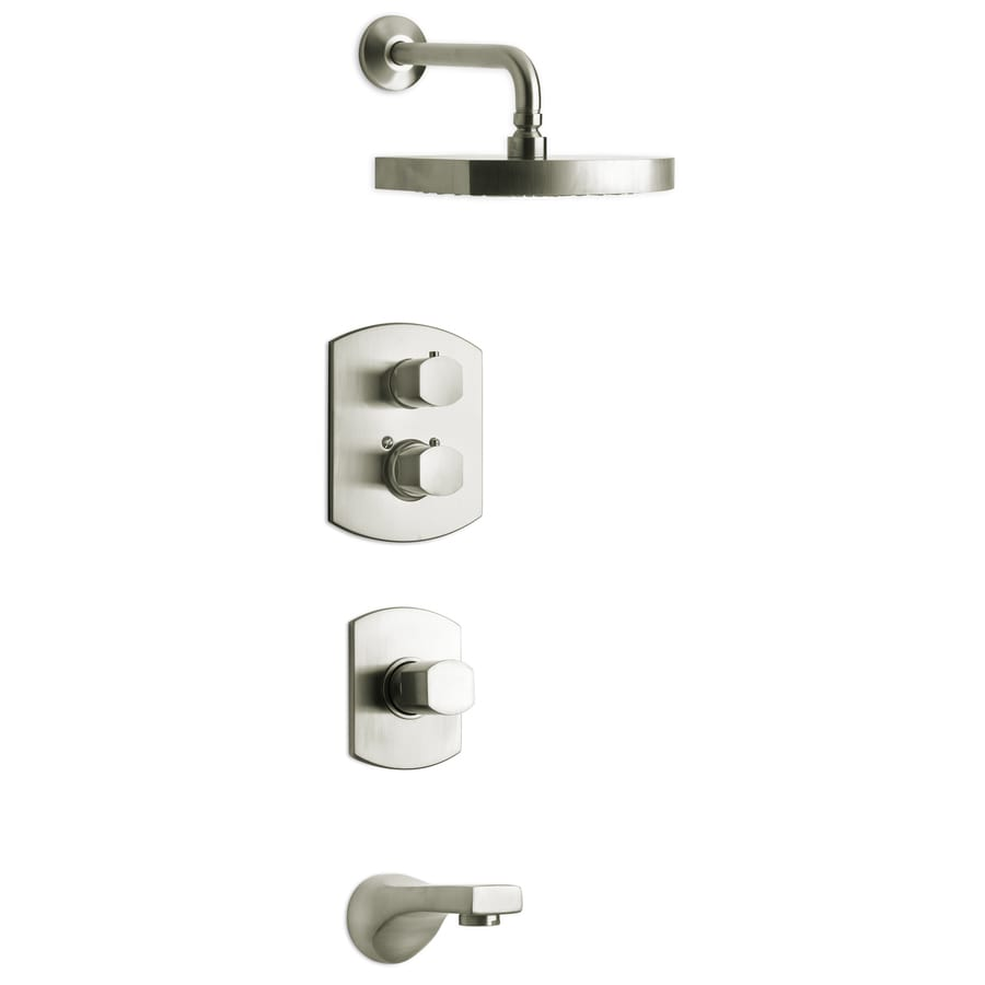 LaToscana Novello Brushed Nickel 3-Handle WaterSense Bathtub and Shower Faucet with Rain Showerhead