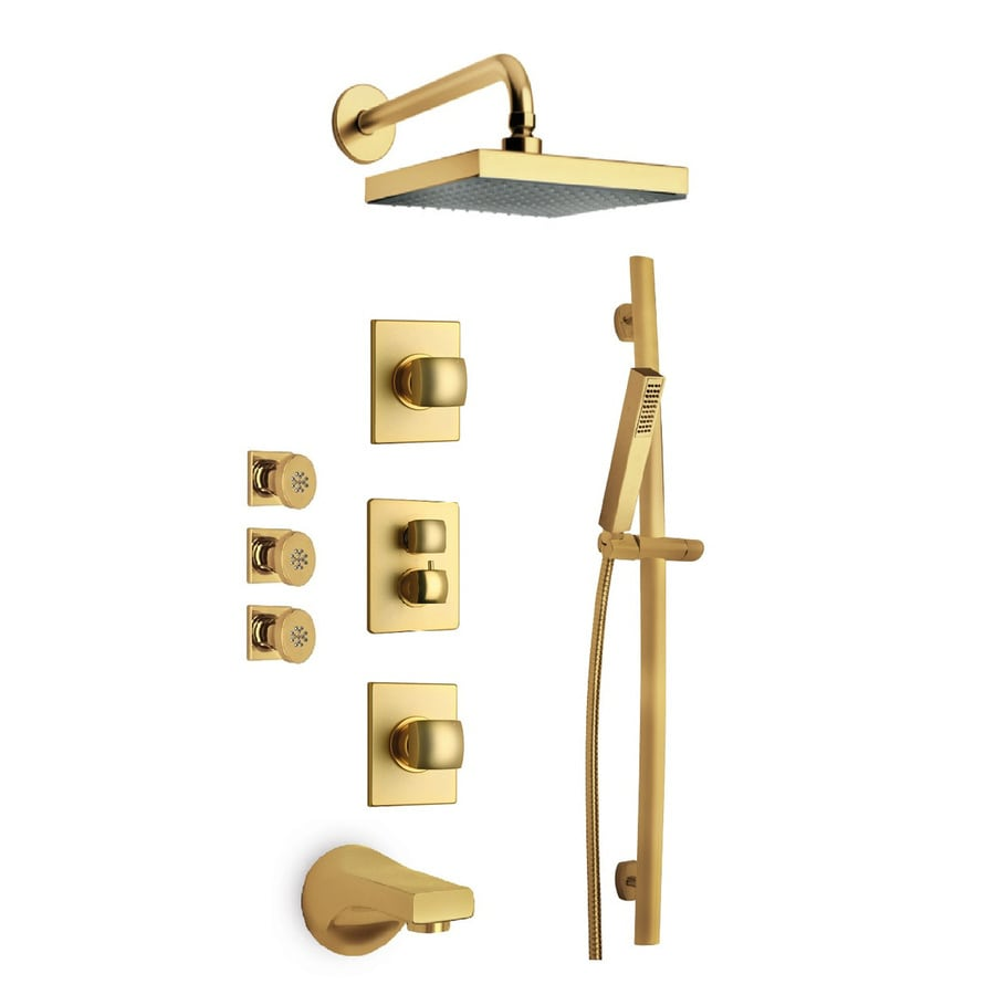 LaToscana Lady Satin Gold 2-Handle WaterSense Bathtub and Shower Faucet with Single Function Showerhead