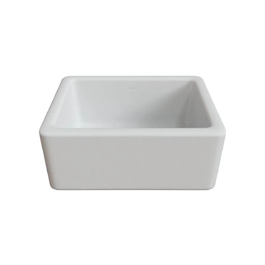 LaToscana Reversible 18-in x 24-in White Single-Basin Fireclay Apron Front/Farmhouse Corner Install Commercial/Residential Kitchen Sink All-in-One Kit