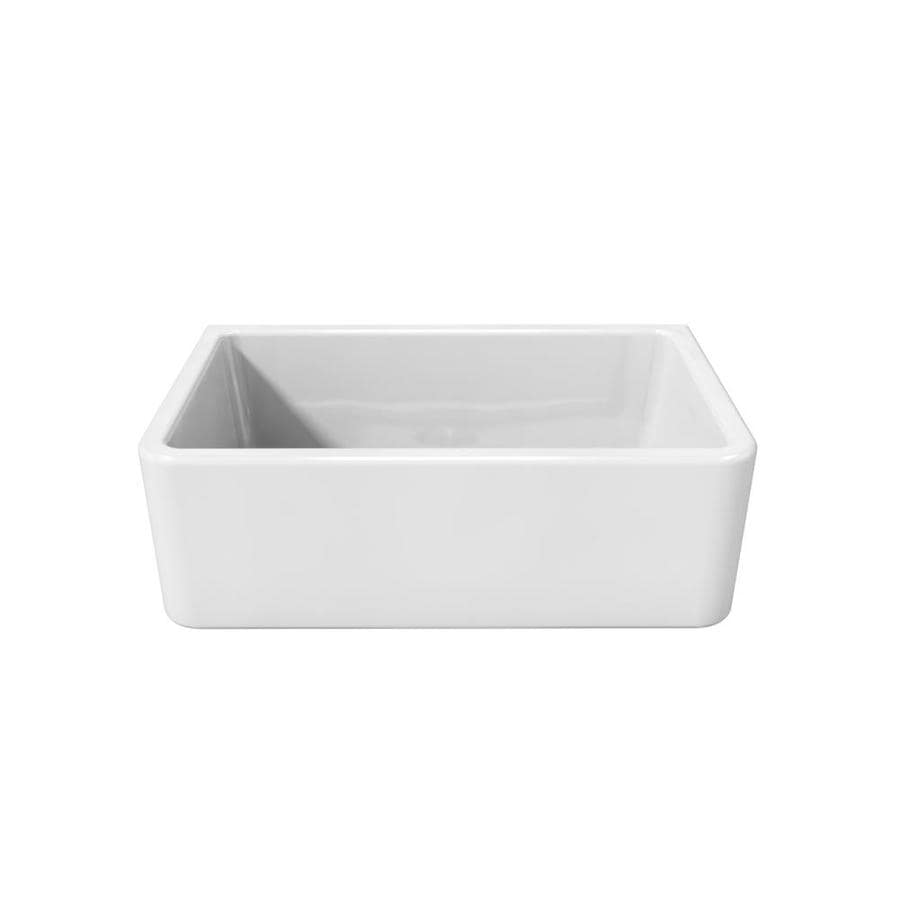 LaToscana Reversible 18-in x 30-in White Single-Basin Fireclay Apron Front/Farmhouse Corner Install Commercial/Residential Kitchen Sink