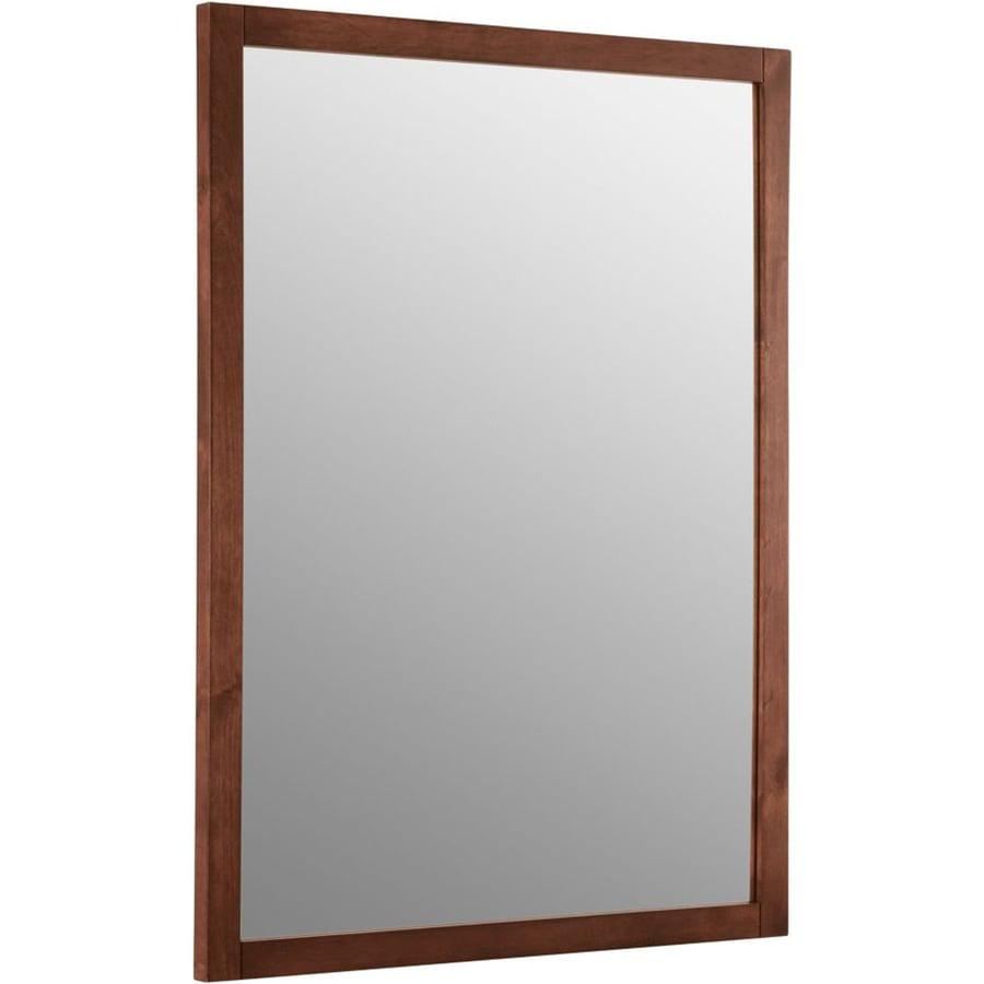 KOHLER Evandale 23.5-in W x 32-in H Sapele Rectangular Bathroom Mirror