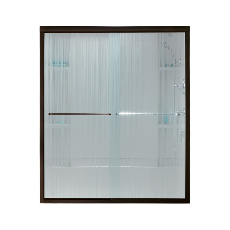 Sterling Finesse 54.625-in to 59.625-in Frameless Deep bronze Sliding Shower Door