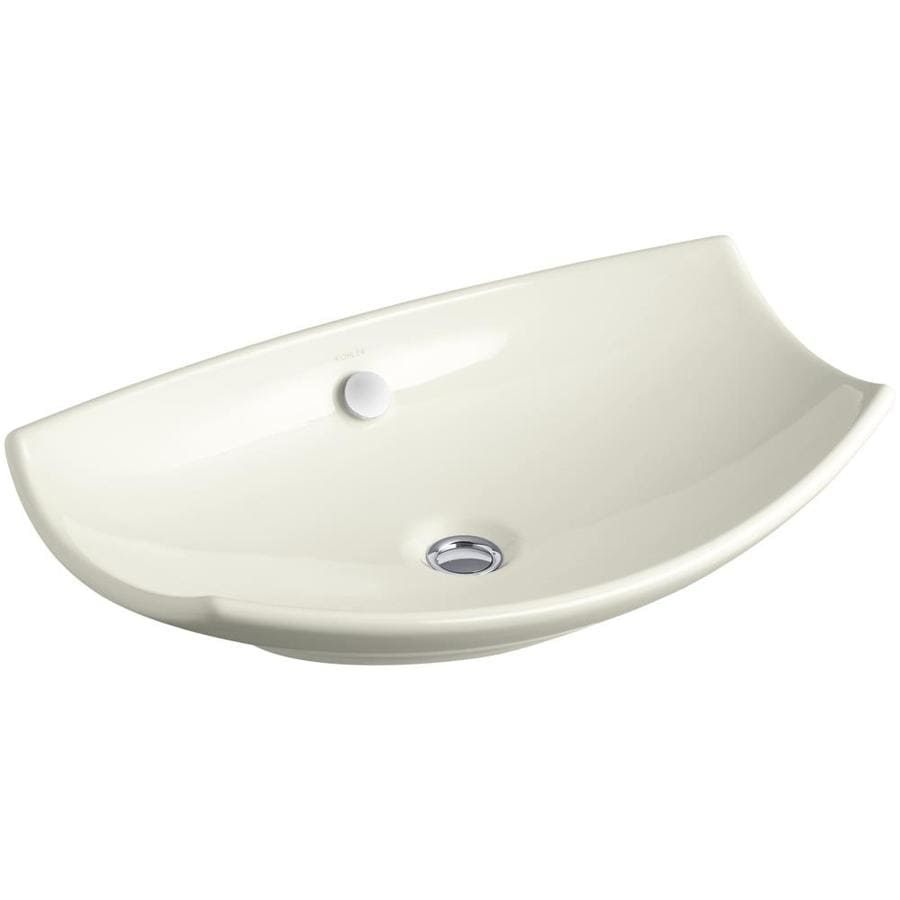 KOHLER Leaf White Fire Clay Vessel Rectangular Bathroom Sink