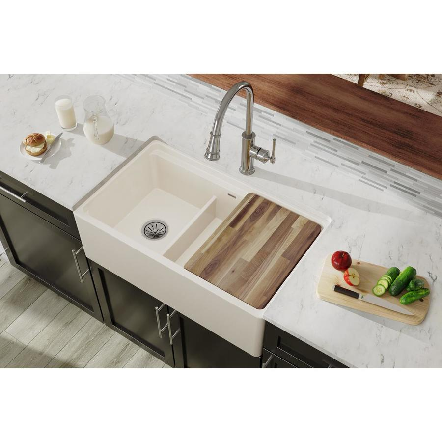 KOHLER Cape Dory 22-in x 33-in Biscuit Single-Basin Cast Iron Undermount 5-Hole Residential Kitchen Sink