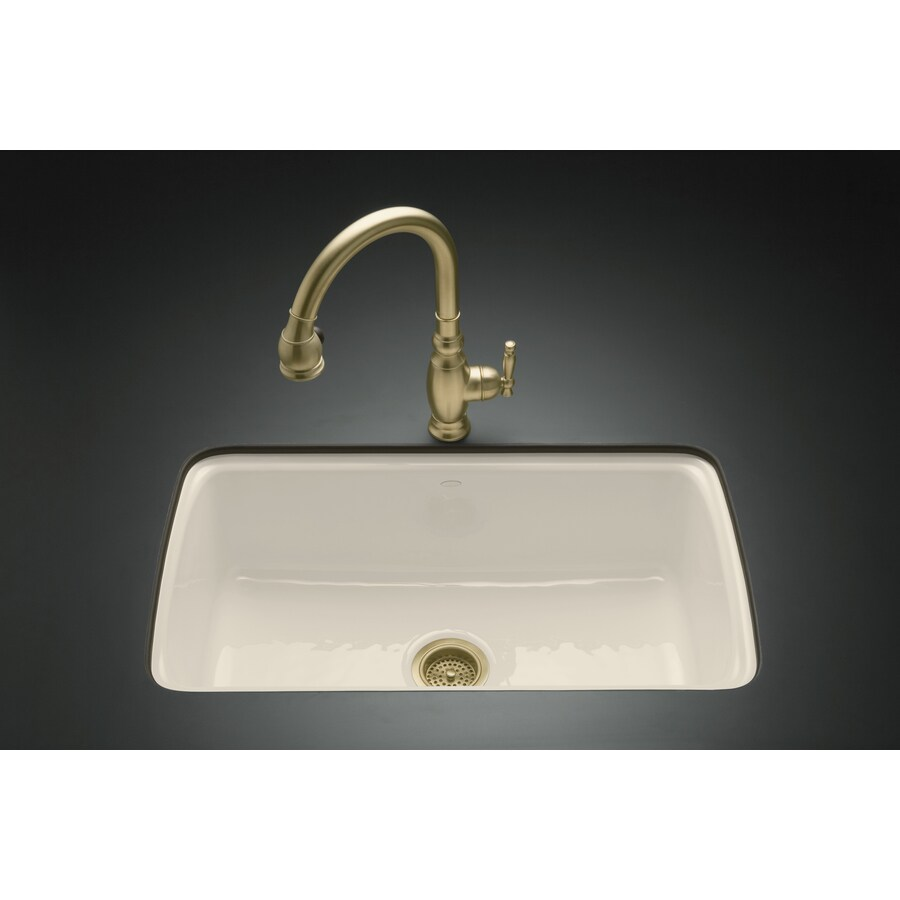 KOHLER Cape Dory 22-in x 33-in Almond Single-Basin Cast Iron Undermount 5-Hole Residential Kitchen Sink