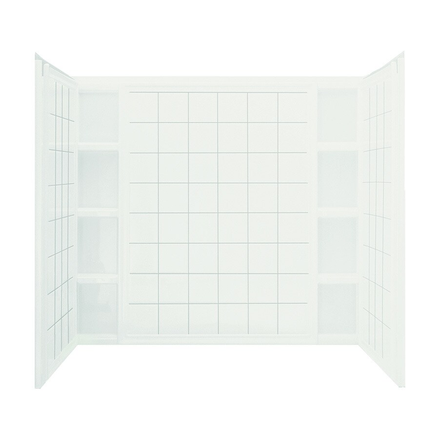 Sterling Ensemble White Vikrell Bathtub Wall Surround (Common: 60-in x 36-in; Actual: 54.25-in x 60-in x 37.5-in)