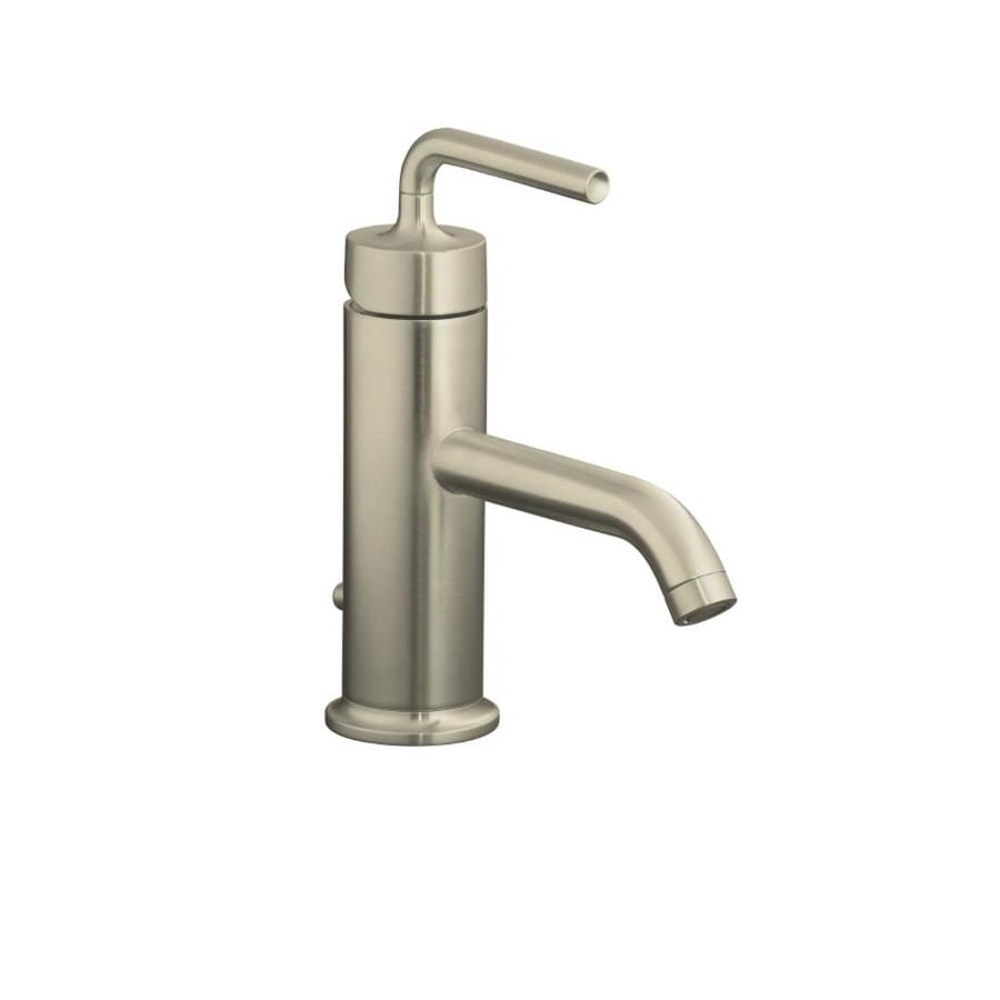 KOHLER Purist Vibrant Brushed Nickel 1-Handle Single Hole WaterSense Bathroom Faucet (Drain Included)