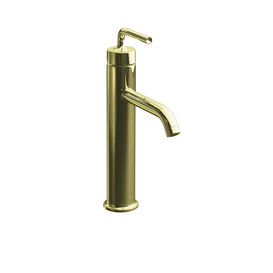 KOHLER Purist Vibrant French Gold 1-Handle Single Hole WaterSense Bathroom Faucet (Drain Included)