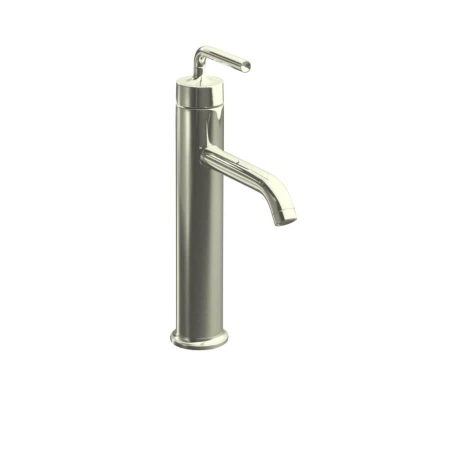 KOHLER Purist Vibrant Polished Nickel 1-Handle Single Hole WaterSense Bathroom Faucet (Drain Included)