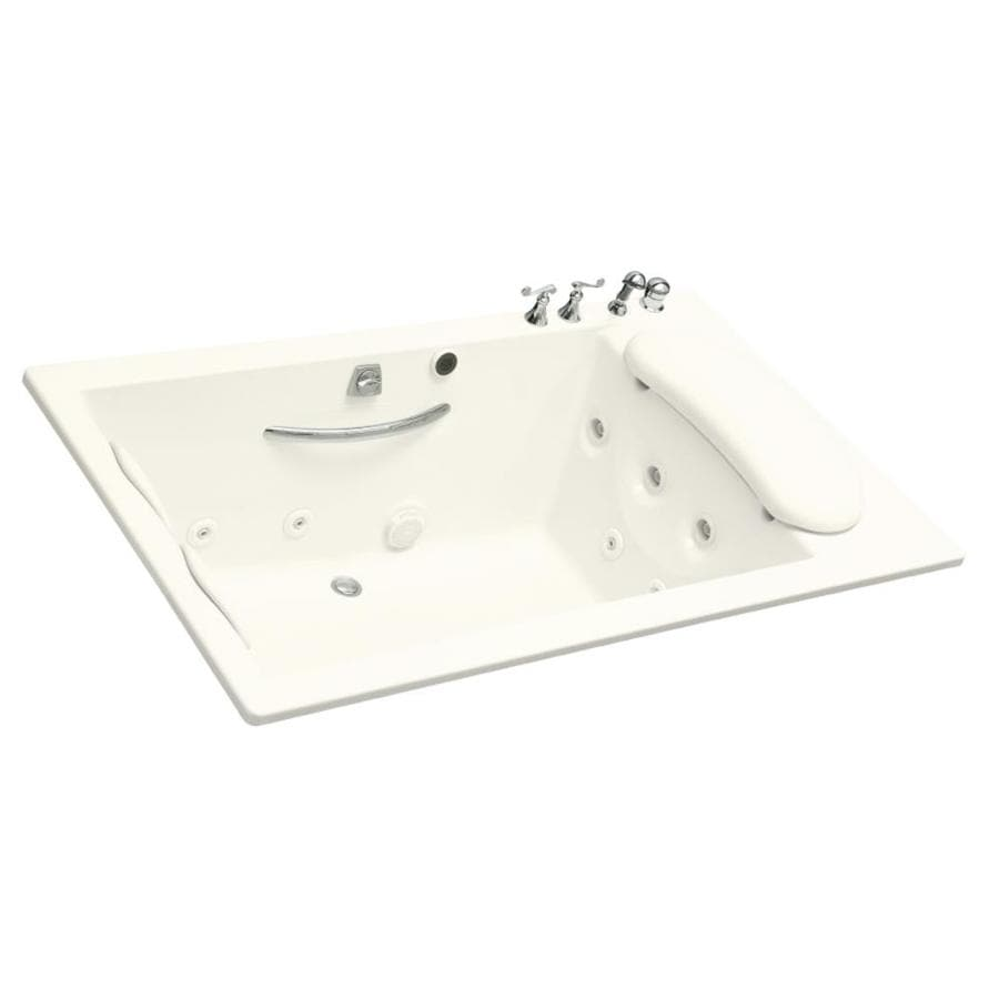KOHLER Riverbath 75-in Biscuit Acrylic Drop-In Whirlpool Tub with Back Center Drain