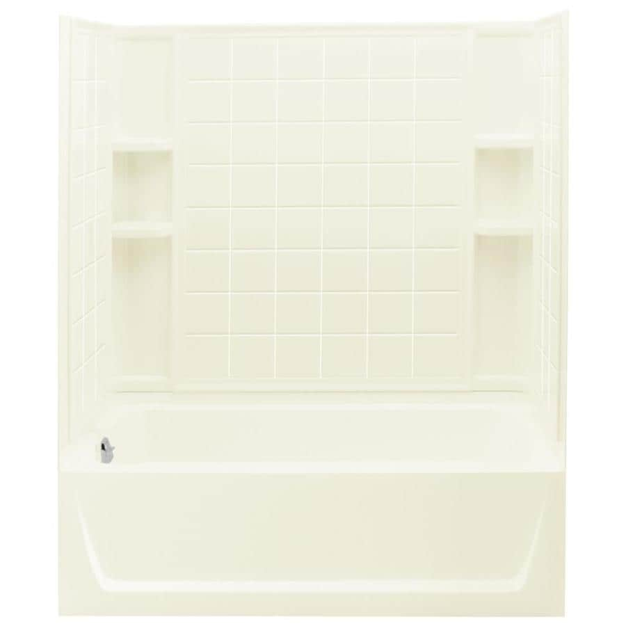 Sterling Ensemble Biscuit Vikrell Wall and Floor 4-Piece Alcove Shower Kit with Bathtub (Common: 32-in x 60-in; Actual: 74-in x 32-in x 60-in)