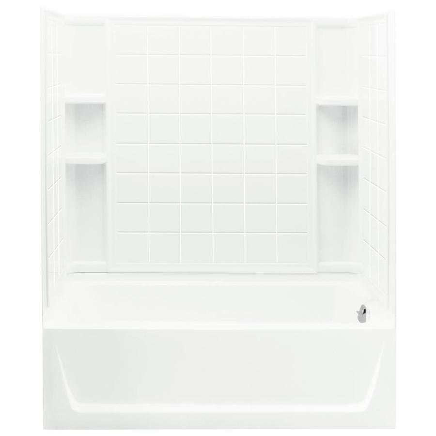 Sterling Ensemble White Vikrell Rectangular Skirted Bathtub with Right-Hand Drain (Common: 32-in x 60-in; Actual: 76-in x 32-in x 60.25-in)