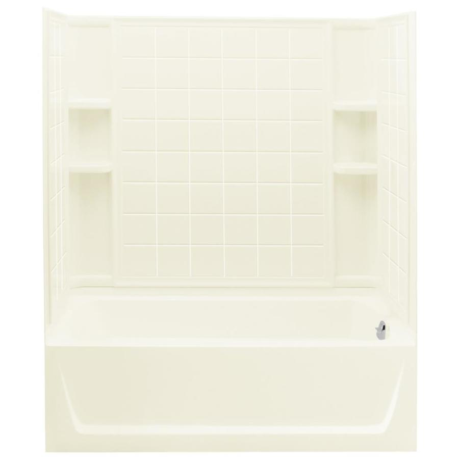 Sterling Ensemble Biscuit Vikrell Wall and Floor 4-Piece Alcove Shower Kit with Bathtub (Common: 32-in x 60-in; Actual: 76-in x 32-in x 60-in)